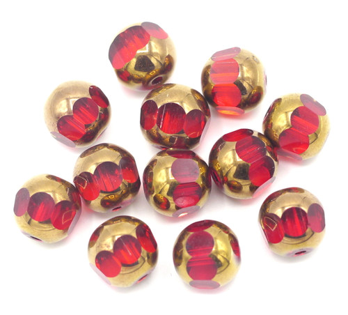 12pc 12mm Faceted Window Glass Beads, Red & Bronze
