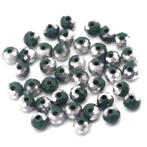 40pc 6x4mm Crystal Rondelle Beads, Deep Emerald & Silver