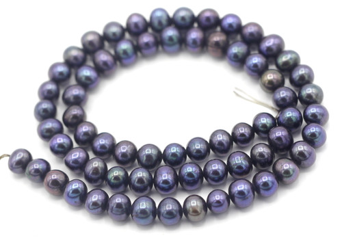 "SAVE 80%-- 15"" Strand Approx 6-7mm Freshwater Pearl Semi-Round Beads, Iris Purple"
