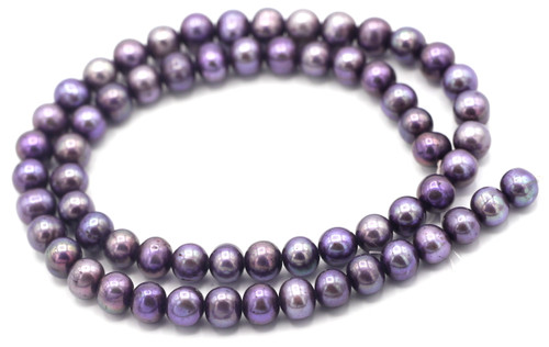 "SAVE 80%-- 15"" Strand Approx 7.5mm Freshwater Pearl Semi-Round Beads, Deep Purple"
