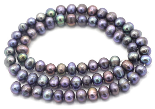"SAVE 80%-- 15"" Strand Approx 6-7mm Freshwater Pearl Semi-Round Beads, Peacock"
