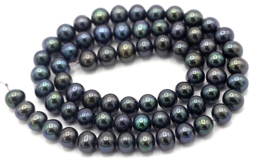 "SAVE 80%-- 15"" Strand Approx 6-7mm Freshwater Pearl Semi-Round Beads, Green Iris"