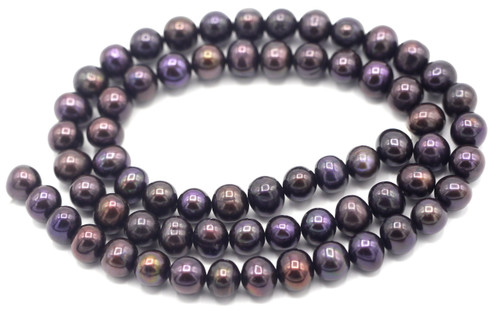 "SAVE 80%-- 15"" Strand Approx 7mm Freshwater Pearl Semi Round Beads, Black Peacock"