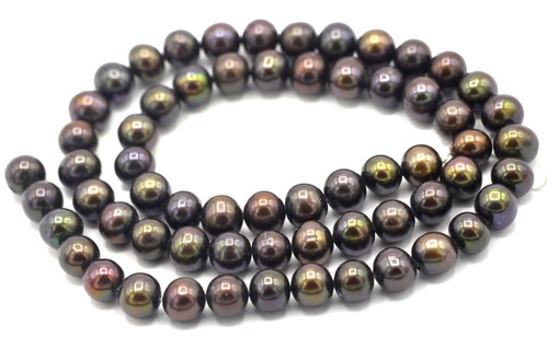 "SAVE 80%-- 15"" Strand Approx 7-8mm Freshwater Pearl Semi Round Beads, Black Iris"