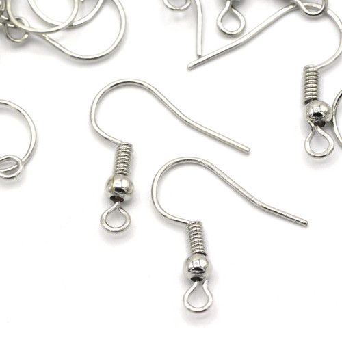 50pc 20x17mm Nickel-Free Hook Earwires, Antique Silver