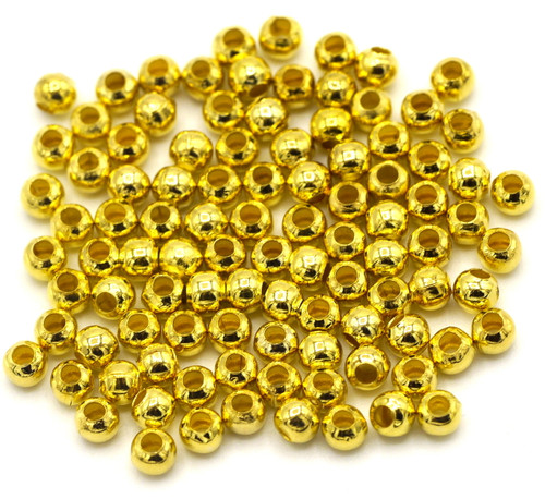 100pc 3.2mm Steel Spacer Beads, Gold Finish