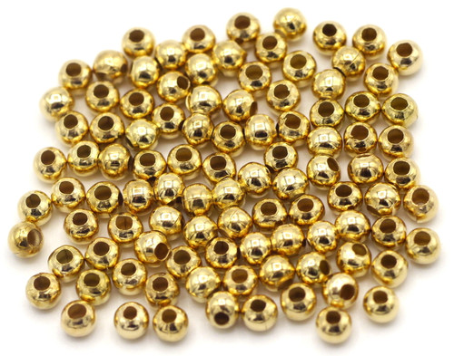 100pc 3.2mm Steel Spacer Beads, KC Gold Finish