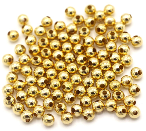 100pc 4mm Steel Spacer Beads, KC Gold Finish