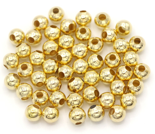 50pc 6mm Steel Spacer Beads, KC Gold Finish
