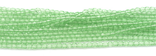 100pc 4mm Czech Fire Polished Faceted Round Beads, Light Green