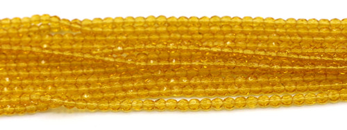 100pc 4mm Czech Fire Polished Faceted Round Beads, Medium Topaz