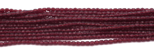 100pc 4mm Czech Fire Polished Faceted Round Beads, Light Garnet Matte