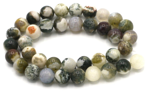 "15"" Strand 10mm Tree Agate Round Beads"