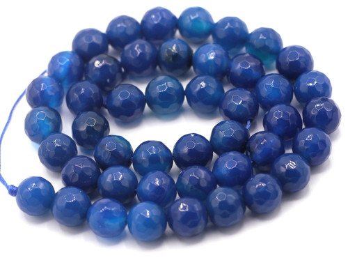 "15"" Strand 8mm Deep Blue Agate Faceted Round Beads"