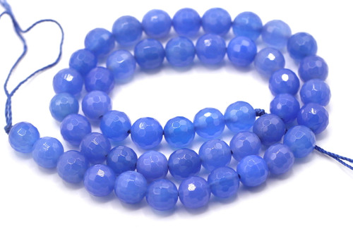 "15"" Strand 8mm Blue Agate Faceted Round Beads"