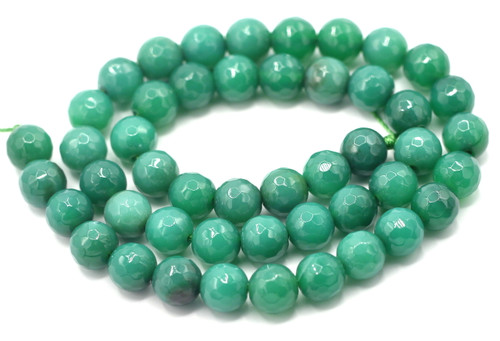 "15"" Strand 8mm Green Agate Faceted Round Beads"