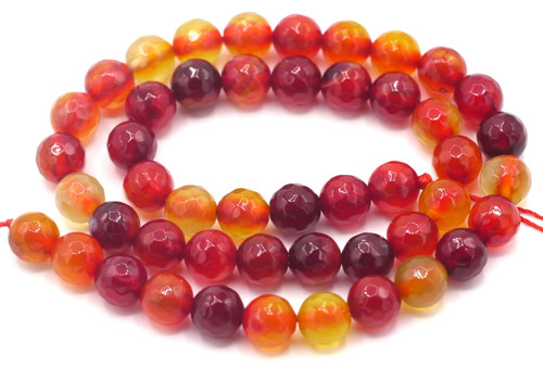"15"" Strand 8mm Dark Red Agate Faceted Round Beads"