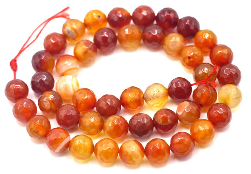 "15"" Strand 8mm Red Agate Faceted Round Beads"