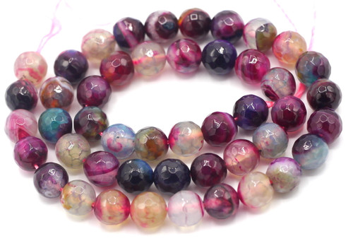 "15"" Strand 8mm Mixed Purple Agate Faceted Round Beads"