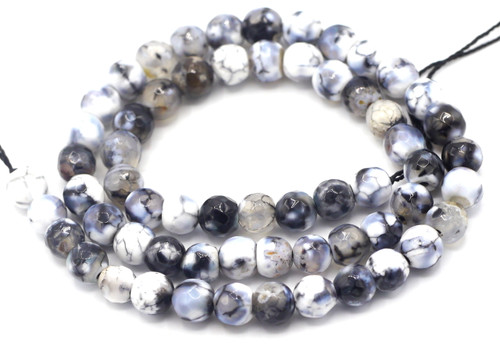 "15"" Strand 6mm Black & White Agate Faceted Round Beads"
