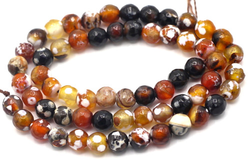 "15"" Strand 6mm Coffee & Cream Agate Faceted Round Beads"