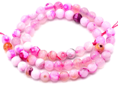 "15"" Strand 6mm Pink & White Agate Faceted Round Beads"