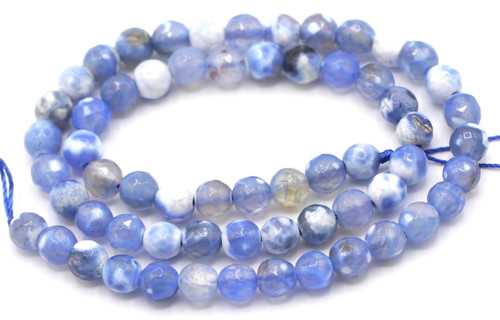 "15"" Strand 6mm Blue & White Agate Faceted Round Beads"