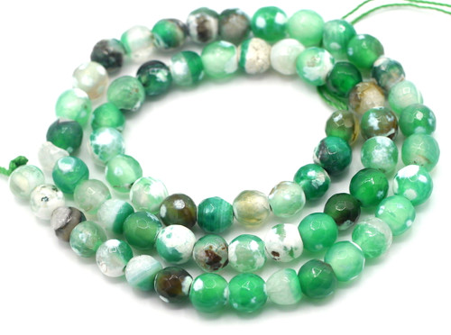 "15"" Strand 6mm Sea Green & White Agate Faceted Round Beads"