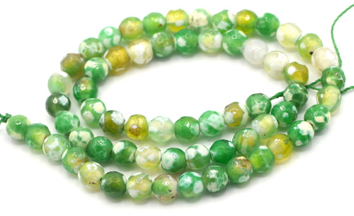 "15"" Strand 6mm Green & White Agate Faceted Round Beads"