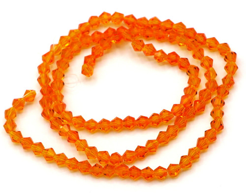 100+pc 4mm Crystal Bicone Beads, Tangerine