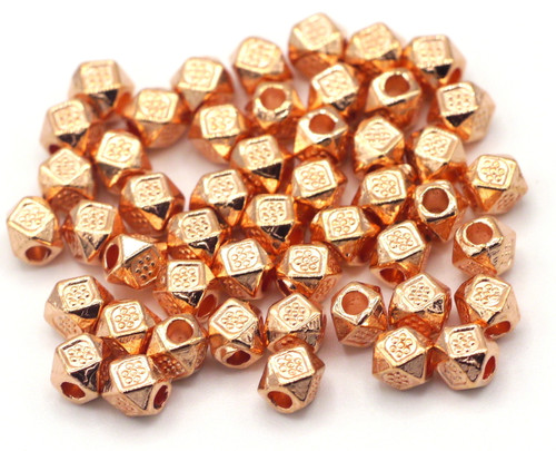 50pc 3.5mm Tribal-Style Spacer Beads, Rose Gold Finish