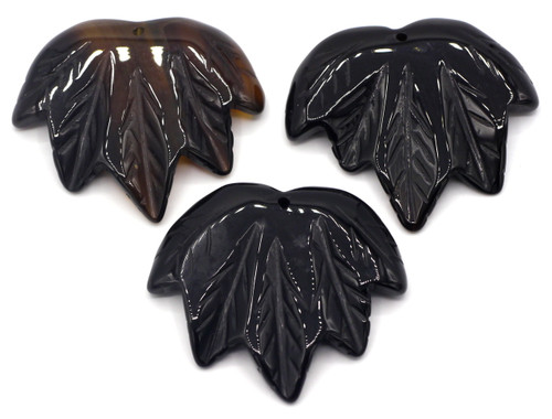 1pc Approx 40-45mmx45-50mm Carved Leaf Pendant, Black Agate