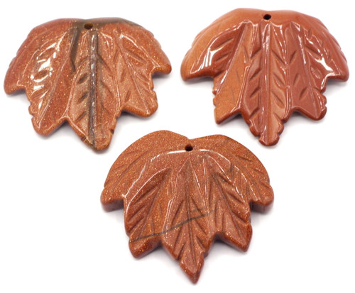 1pc Approx 40-45mmx45-50mm Carved Leaf Pendant, Goldstone (Man-made)