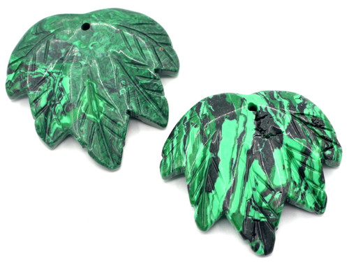 1pc Approx 40-45mmx45-50mm Carved Leaf Pendant, Synthetic Malachite