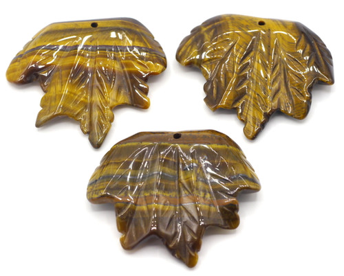 1pc Approx 40-45mmx45-50mm Carved Leaf Pendant, Tigereye