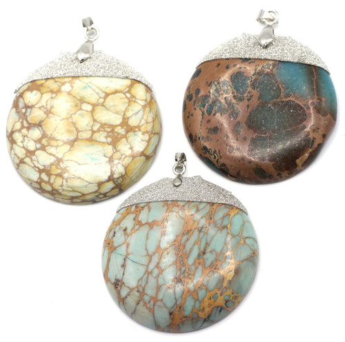 SAVE 70%-- 1pc Approx 42mm Sea Sediment Jasper Round Pendant