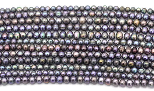 "SAVE 80%-- RANDOM PICK 15"" Strand Approx 6-9mm Freshwater Pearl Irregular Semi-Round Beads, Mixed Peacock Finish"