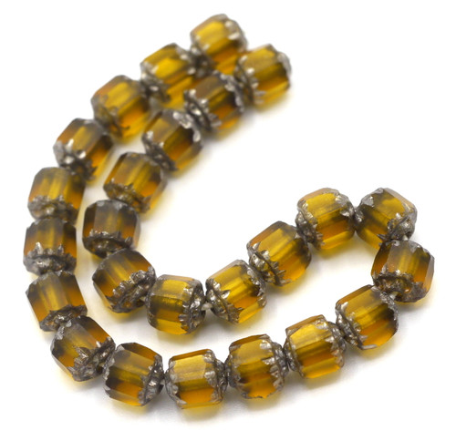 25pc 6mm Faceted Czech Cathedral Glass Beads, Topaz & Silver