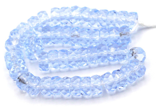 50pc 6mm Czech Fire Polished Glass Faceted Disc Beads, Pale Sapphire