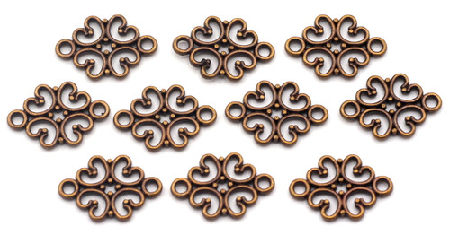 10pc 18x13mm Scrollwork Links, Antique Copper