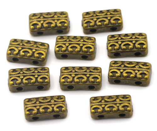 10pc 14x8mm 2-Hole Rectangle Spacer Bar/Links, Antique Brass