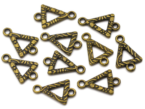 10pc 16x10mm Textured Triangle Links, Antique Brass