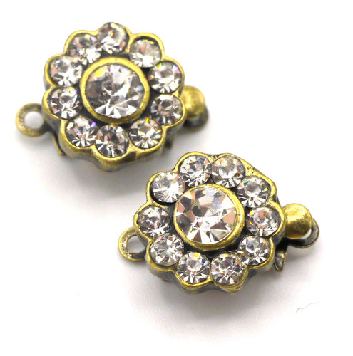 2pc 14x10mm Single-Strand Rhinestone Box Clasp, Antique Brass Scalloped Round