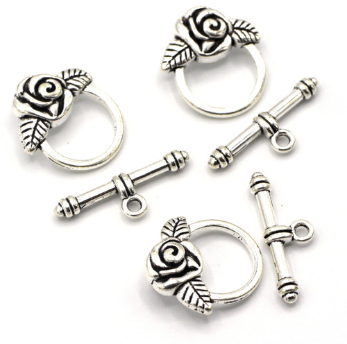 3 Sets 19x24mm Rose Toggle Clasp, Antique Silver