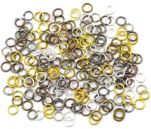 10 Grams 5mm Steel Jump Rings, 21-Gauge, Mixed Metal Finishes
