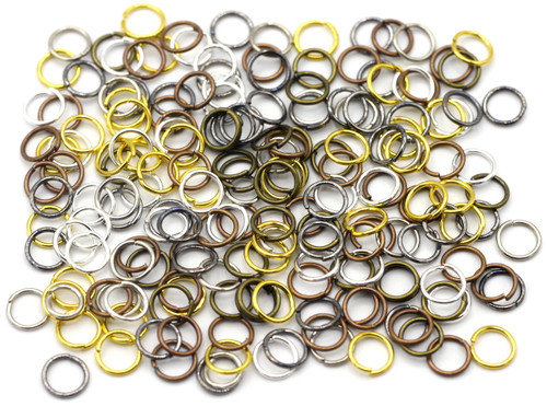 10 Grams 6mm Steel Jump Rings, 21-Gauge, Mixed Metal Finishes