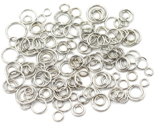 10 Grams Mixed 4-10mm Steel Jump Rings, Silver Finish