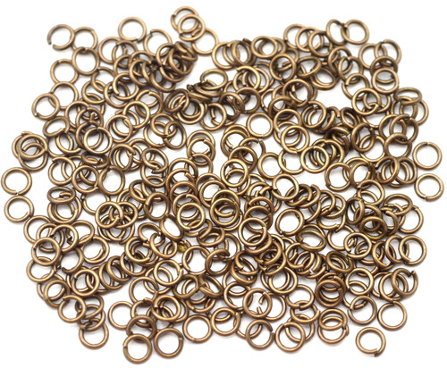 10 Grams 4mm Steel Jump Rings, 21 Gauge, Antique Copper Finish