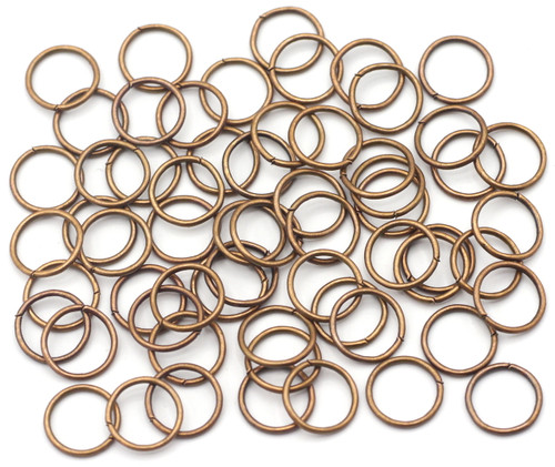 10 Grams 10mm Steel Jump Rings, 18 Gauge, Antique Copper Finish