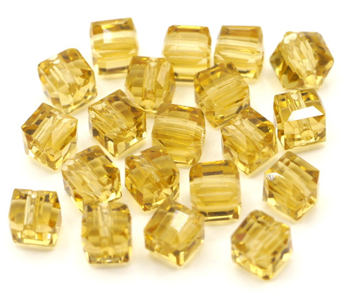 20pc Strand 6mm Crystal Cube Beads, Light Topaz